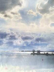 """Blinding sun, and the clouds, hovering over the gulf"" watercolor on paper, 61 x 46, 2020"
