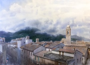 """""""Fabriano. Mountains, roofs, and morning freshness"""" watercolor on paper, 56x76, 2020"""