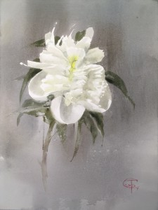 """White peony"" - II watercolor on paper, 40x30, 2020"
