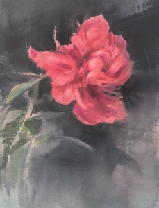 """Red peony"" watercolor on paper, 36x26, 2020"