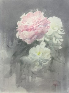 """Two white and one pink peony"" weatercolor on paper, 40 x 30, 2020"