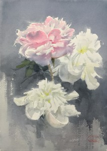 """Two white and one pink peony"" - II watercolor on paper, 36 x 26, 2020"