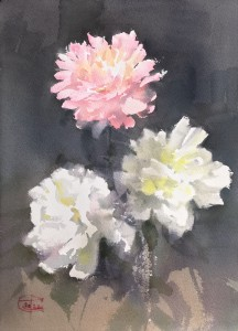 """Pink and two white peonies"" watercolor on paper, 36x26, 2020"