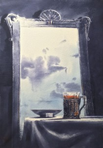 """The mirror, clouds, and the tea-glass, or Cloudy Tea-party"" watercolor on paper, 70 x 50, 2020"