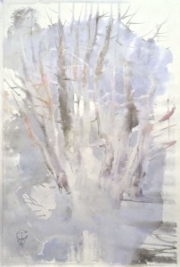 """The trunks of trees, sleet, and icing"" watercolor on paper, 56 x 36, 2001"
