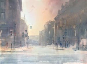 """""""St-Petersburg. The light of a winter day"""" watercolor on paper, 44 x 60, 2021"""