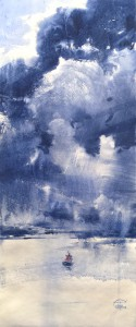 """""""The clouds heavy movement over the gulf mirror"""" watercolor on paper, 60 x 25, 2021"""