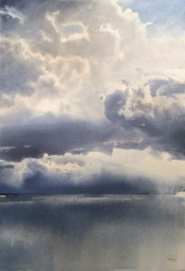 The layered Northern Sky. Watercolor on paper. 70 x 50 cm. 2021 © Sergey Temerev