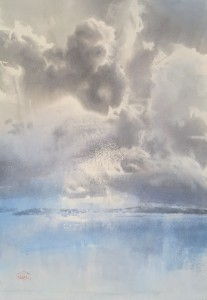 The clouds' round dance. Watercolor on paper. 68 x 48 cm. 2021 © Sergey Temerev